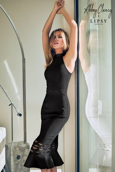 Abbey Clancy x Lipsy Black Flute Hem Halterneck Dress