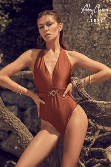 Abbey Clancy x Lipsy Brown Plunge Swimsuit