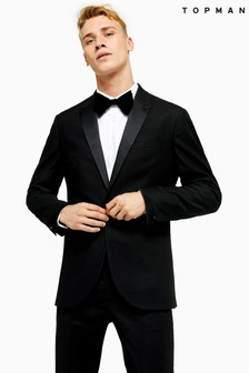 Topman Single Breasted Satin Covered Shawl Lapel Slim Fit Tuxedo Blazer