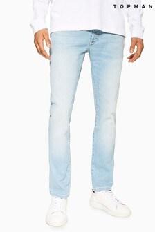Topman Light Wash Stretch Slim Jeans