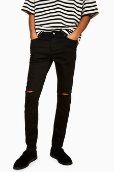 Topman Double Ripped Stretch Skinny Jeans
