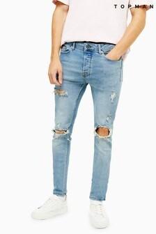 Topman Light Wash Blowout Stretch Skinny Jeans