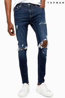 Topman Dark Wash Blow Out Spray On Jeans