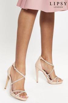 Lipsy Nude Diamante Strappy Concealed Platform Heels