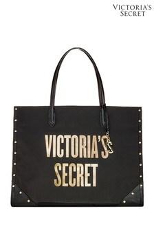 Victoria's Secret Black Studded Victoria Tote