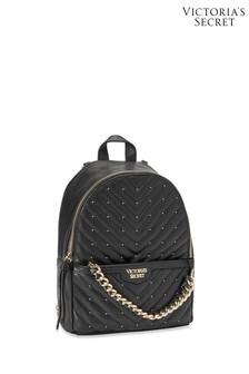 Victoria's Secret Black Gold Studded V-Quilt Small City Backpack