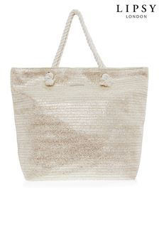Lipsy Silver Metallic Canvas Tote Bag
