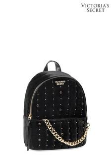 Victoria's Secret Black Velvet Stud Small City Backpack
