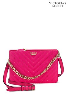 Victoria's Secret Fuchsia Studded V-Quilt 24/7 Crossbody