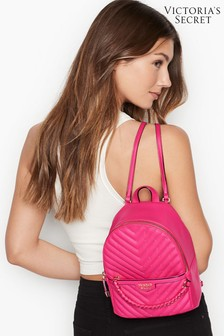 Victoria's Secret Fuchsia Studded V-Quilt Small City Backpack