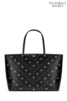 Victoria's Secret Black and Silver Mixed Stud Everything Tote