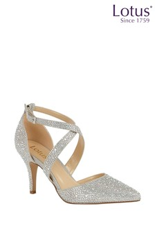 Lotus Silver Diamanté Heeled Occasion Shoes