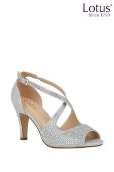 Lotus Silver Diamanté Heeled Occasion Sandals