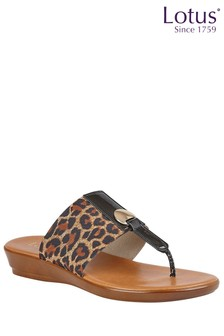 Lotus Brown Comfort Toe Post Wedge Sandal