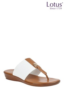 Lotus White Comfort Toe Post Wedge Sandal