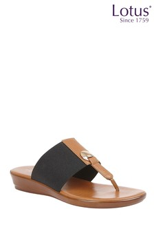 Lotus Black Comfort Toe Post Wedge Sandal