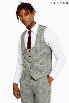 Topman Stone Check Skinny Fit Suit Waistcoat