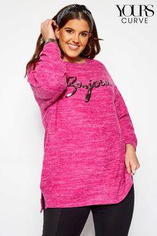 Yours Curve Sequin Bonjour Slogan Sweatshirt