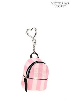 Victoria's Secret Pink Striped Backpack Keychain