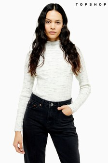 Topshop Grey Knitted Marl Funnel Neck Top