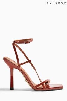 Topshop Brown Strap High Heels