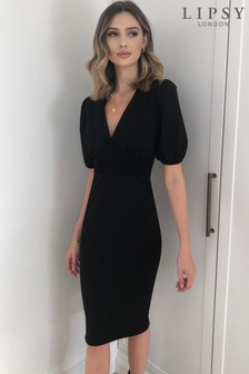 Lipsy Black Shirred Obi Midi Dress
