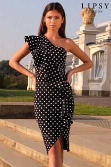 Lipsy Black One Shoulder Ruffle Midi Dress