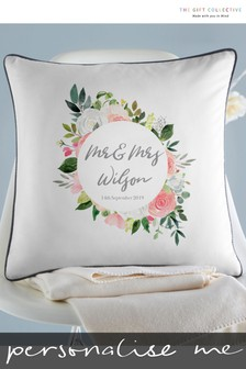 Personalised Floral Wedding Cushion By Gift Collective