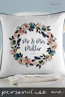 Personalised Watercolour Floral Cushion By Gift Collective