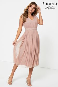 Anaya With Love Pink Bow Back Wide Strap Midi Dress