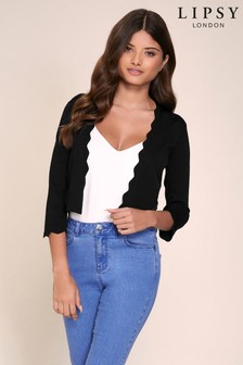 Lipsy Black Knitted Scallop Shrug