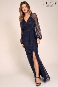 Lipsy Navy VIP Hand Embellished Long Sleeve Maxi Dress