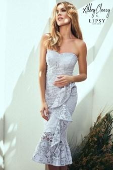 Abbey Clancy x Lipsy Bandeau Lace Ruffle Dress