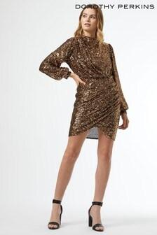 Dorothy Perkins Bronze Sequin Wrap Skirt Mini Dress