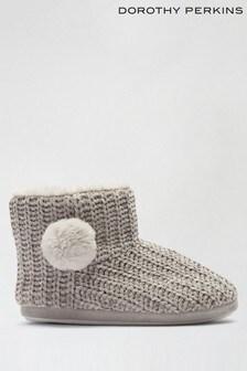 Dorothy Perkins Black Chenille Pom Boot Slippers