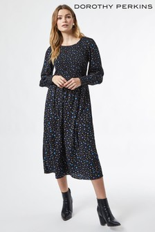 Dorothy Perkins Black Smocked Midi Ditsy Dress