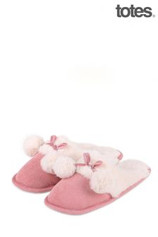 Totes Pink Cord Mule Slipper