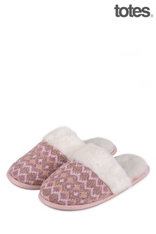 Totes Pink Fairisle Knitted Mule Slipper