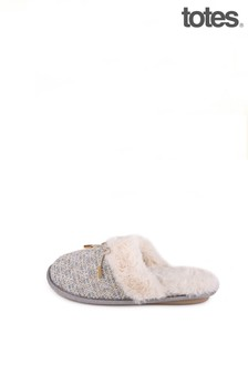 Totes Grey Tweed Mule Slipper