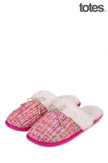 Totes Pink Tweed Mule Slipper