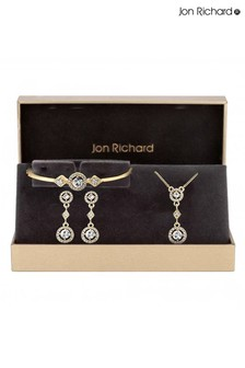 Jon Richard Bridal Clear Crystal Clara And Diamond Shape Necklace And Earring  Matching Set