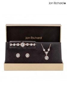 Jon Richard Bridal Plated Crystal Halo Trio Jewellery Set - Gift Box
