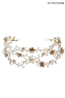 Jon Richard Gold Bridal Clear Crystal Floral Hair Vine