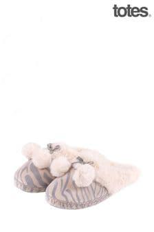 Totes Grey Zebra Mule Slipper