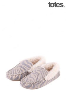 Totes Grey Zebra Moccasin Slipper