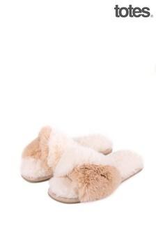 Totes Cream Faux Fur Slider Slipper