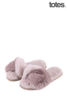 Totes Grey Faux Fur Slider Slipper