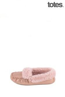 Totes Pink Sparkle Suedette Mocc Slipper