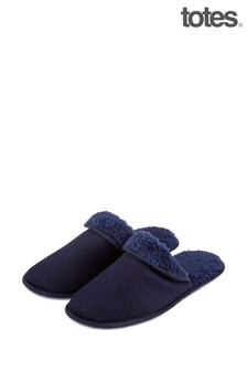 Totes Navy Spot Velour Mule With Cuff Slipper