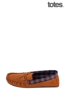 Totes Brown Check Lined Suedette Mocc Slipper